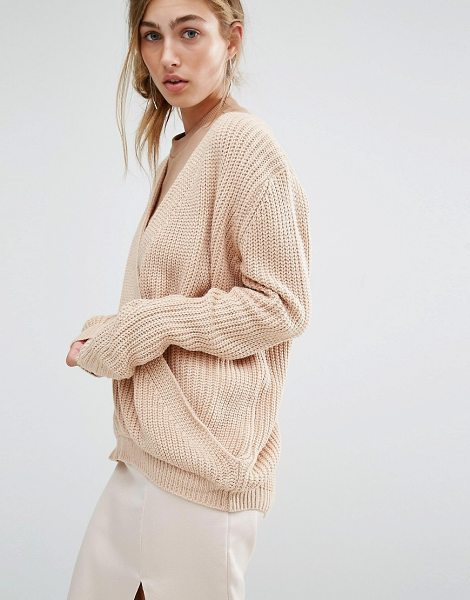 PARALLEL LINES Sweater With Wrap Front - Sweater by Parallel Lines, Chunky knitted fabric, Plunge...