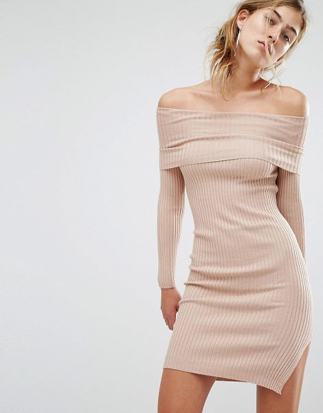 Parallel Lines Off Shoulder Sweater Dress in beige - Dress by Parallel Lines, Ribbed knitted fabric,...