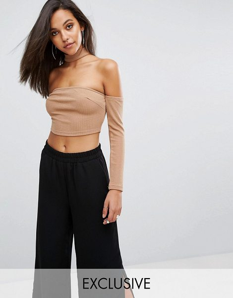 """PARALLEL LINES Off Shoulder Long Sleeve Top With Choker Neck - """"""""Top by Parallel Lines, Textured stretch fabric,..."""