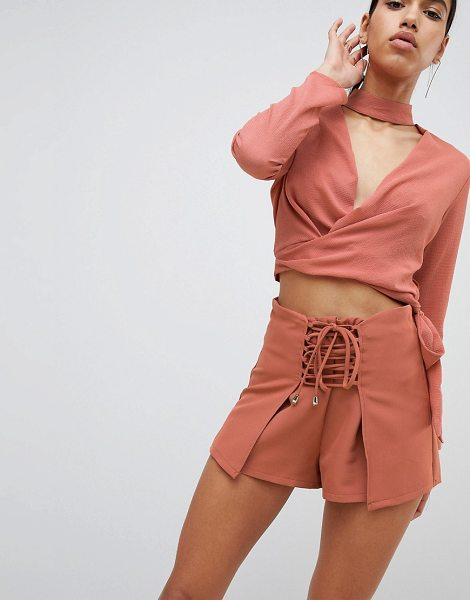 Parallel Lines wrap front shorts with corset detail two-piece-brown in brown