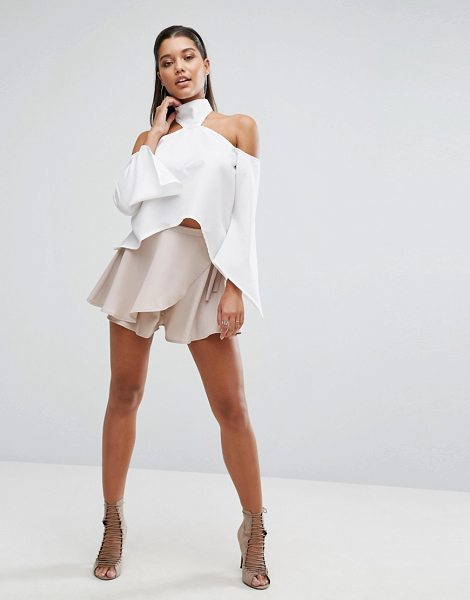 Parallel Lines Wrap Front Skort in cream - Skort by Parallel Lines, Lightweight fabric, High-rise...