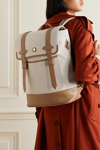 Paravel upland leather-trimmed canvas backpack in cream