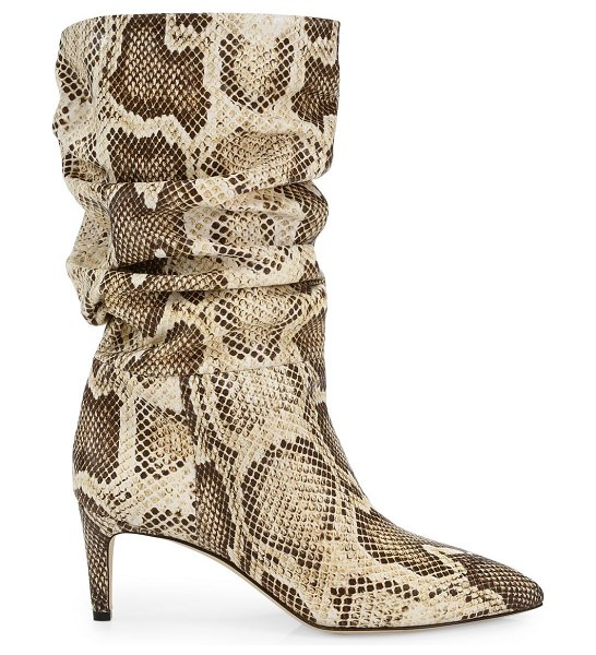 Paris Texas slouchy python-embossed leather boots in neutral