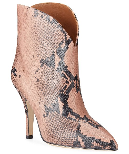 Paris Texas Python-Print Heeled Ankle Boots in pink