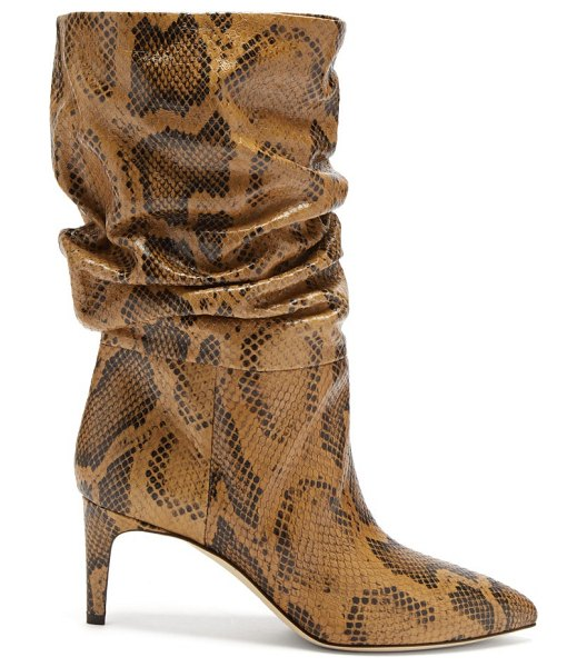 Paris Texas slouchy python-effect leather ankle boots in brown multi