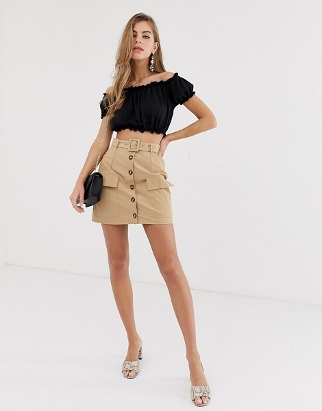 Parisian button down utility skirt with belt in stone