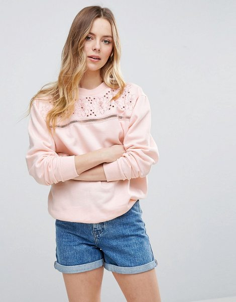 "Parisian Embroidered Sweatshirt in pink - """"Sweatshirt by Parisian, Soft-touch sweat fabric, Crew..."