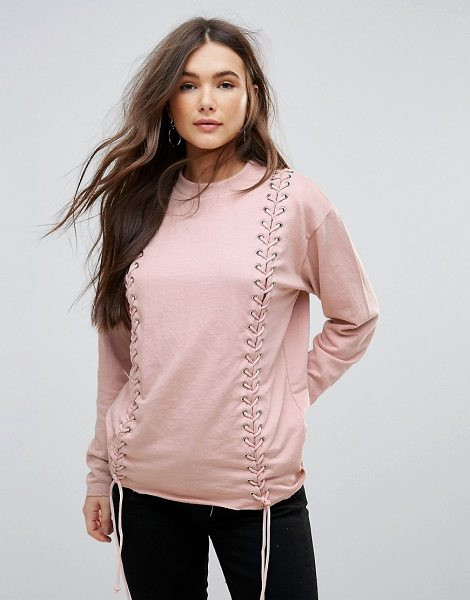Parisian Lace Up Detail Sweat in pink - Top by Parisian, High neck, Lace-up panels with metal...