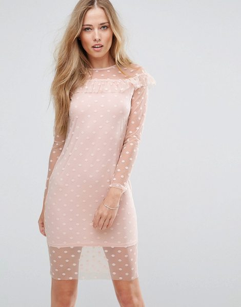 Parisian mesh frill detail dress in pink