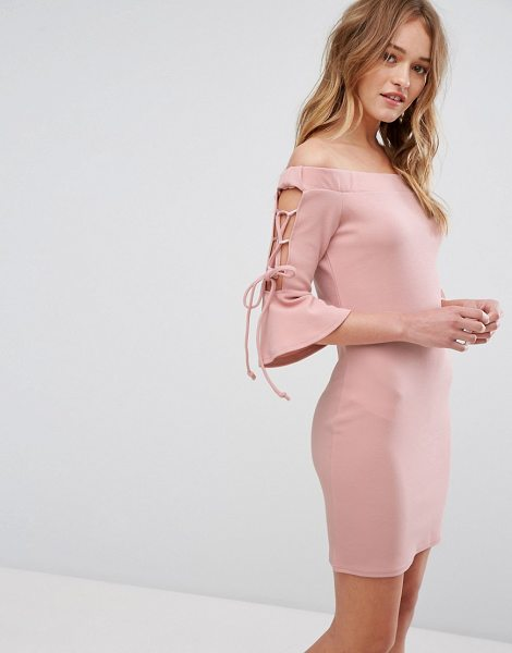 "Parisian Off Shoulder Bodycon Dress in pink - """"Evening dress by Parisian, Smooth stretch fabric,..."