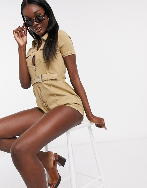 Parisian utility romper with belted waist in stone in stone