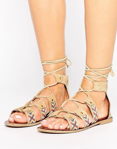 Park Lane Beaded Lace Up Sandal in beige