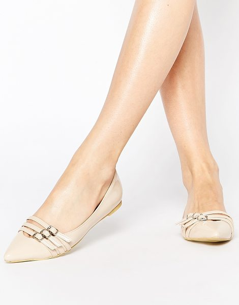 Park Lane Buckle strap point flat shoes in nude patent - Shoes by Park Lane, Leather-look fabric, Gloss finish,...