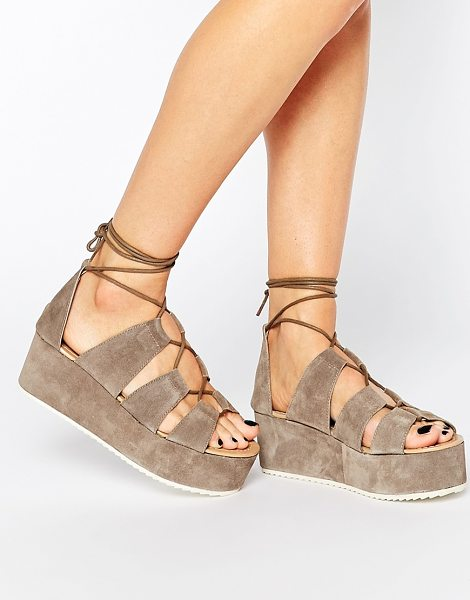 Park Lane Ghillie lace suede flatform sandals in taupe - Shoes by Park Lane, Suede upper, Lace-up closure, ankle...