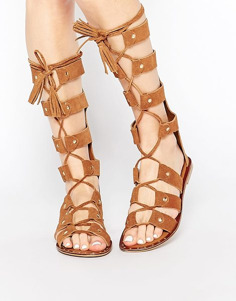 PARK LANE Gladiator Suede Knee High Flat Sandals in tan - Shoes by Park Lane, Real suede upper, Knee-high design,...