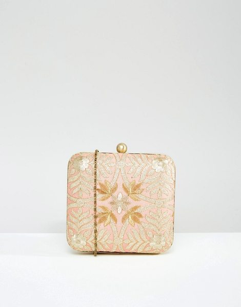 Park Lane Hand embroidered box clutch bag in pink - Cart by Park Lane, Hand-embroidered outer, Gold-tone...