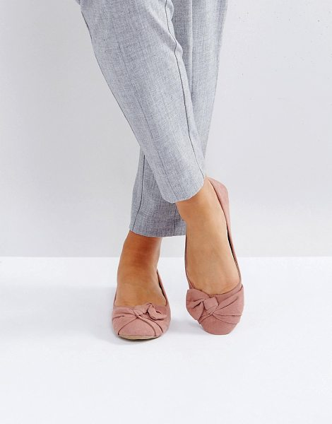 Park Lane oversized bow flat ballerina in pink - Shoes by Park Lane, Textile upper, Slip-on design, Bow...