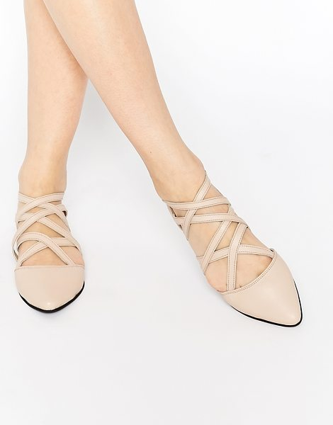 Park Lane Strappy leather flat shoes in nude leather - Shoes by Park Lane, Matte leather upper, Strappy design,...