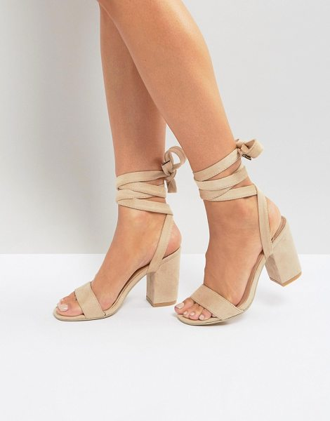 Park Lane tie ankle block heel sandals in nudemicro - Shoes by Park Lane, Textile upper, Tied fastening, Open...