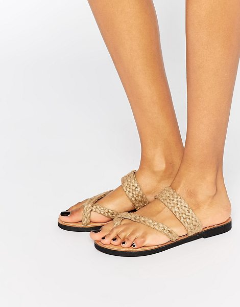 Park Lane Woven Toepost Flat Sandals in beige - Shoes by Park Lane, Leather fabric, Plaited, toe post...