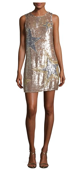 "Parker Allegra Sleeveless A-line Sequined Cocktail Dress in pink - Parker ""Allegra"" star-sequined cocktail dress. Jewel..."