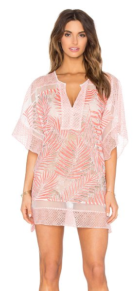 PARKER Beach Palm Cover Up in coral - Nylon blend. Hand wash cold. Unlined. Sheer mesh fabric....