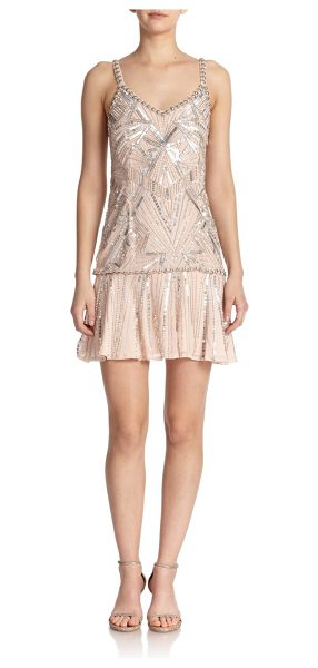 Parker Beaded silk drop-waist dress in blush - Inspired by the roaring '20s, this intricately beaded...