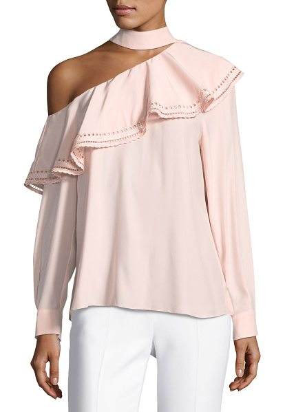 "PARKER Bellini One-Shoulder Silk Blouse w/ Eyelet - Parker ""Bellini"" blouse features a ruffled overlay with..."