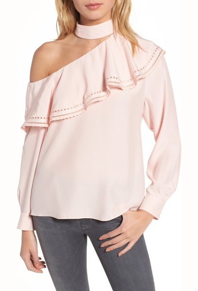Parker bellini one-shoulder silk blouse in ballerina