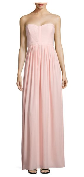 Parker Black bayou strapless silk gown in blush - Quilted bodice tops softly pleated silk gown. Sweetheart...