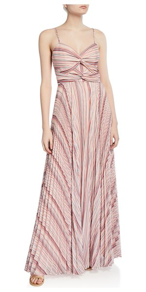 Parker Black Beatrix Striped Twist-Front Sweetheart Sleeveless Pleated Gown in pink