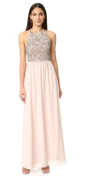 Parker black cassey dress in blush - Elaborate sequins and crystals cover the bodice of this...