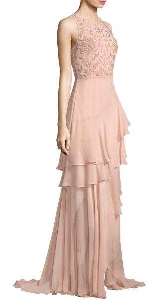 Parker Black edie tiered ruffled gown in blush - Romantic ruffled tiered gown finished with embroidery....