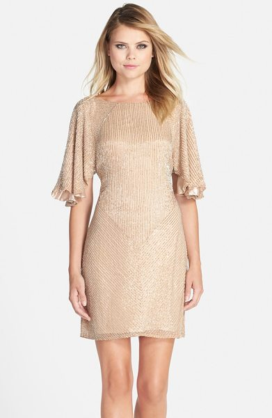 Parker Black fiona flutter sleeve beaded dress in blush - From its easy, fluttery sleeves to its shimmery blush...