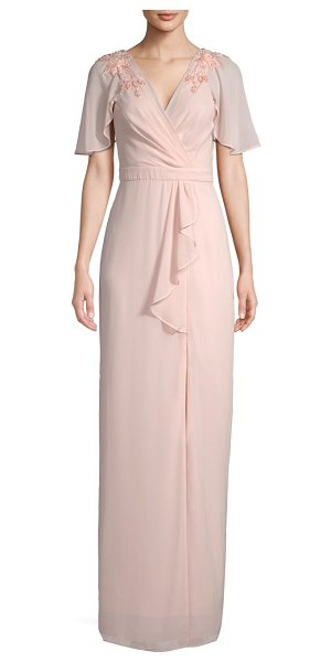 Parker Black hannah embellished wrap gown in pearl blush