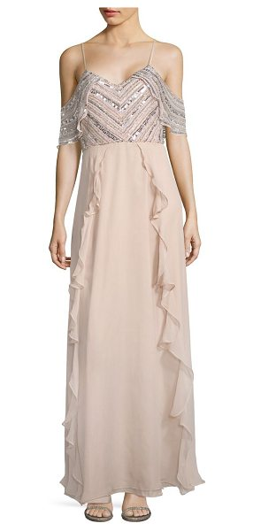 Parker Black irene cold-shoulder silk gown in blush - Ruffled silk gown with chevron sequined overlay...
