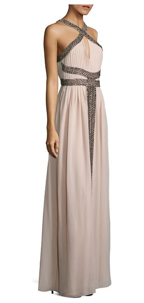 Parker Black kathy beaded halter gown in blush - Grecian-inspired pleated gown with shimmering beading....