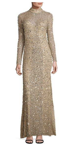 Parker Black leandra sequin gown in gold - Allover glimmering sequins uplift this lace gown....