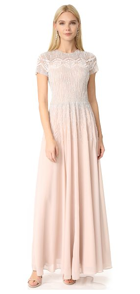 Parker black lisa dress in blush - Elaborate beading covers the bodice and trails down the...
