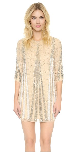 Parker Black michelle dress in nude - Intricate beading brings vintage glamour to this silk...