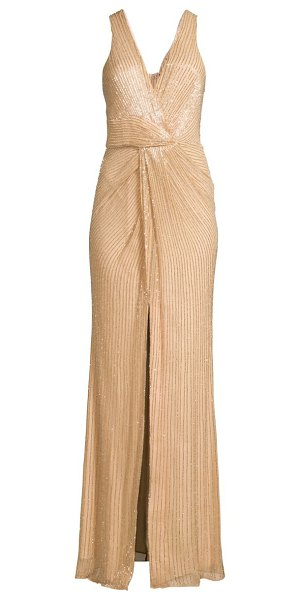 Parker Black monarch beaded silk gown in blush