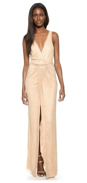 Parker Black monarch silk gown in blush - Rows of tiny beads lend eye catching texture to this...