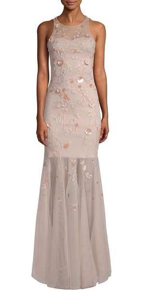 Parker Black monique embellished mermaid gown in peach
