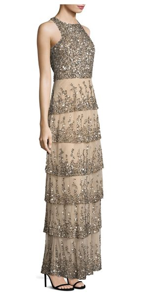 Parker Black natalia sequined gown in nude - Slim tiered gown with shimmering sequins. Crewneck....