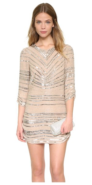 Parker Black petra dress in blush - This Parker shift dress is covered with metallic beads...