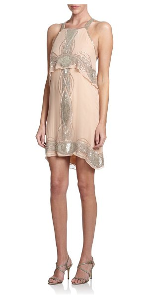Parker Reese beaded popover dress in blush - An airy overlay adds volume to this elegant silk halter...