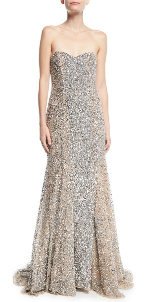 """Parker Black Renee Strapless Sweetheart Beaded Gown in silver - Parker Black """"Renee"""" beaded evening gown. Approx. 62""""L..."""