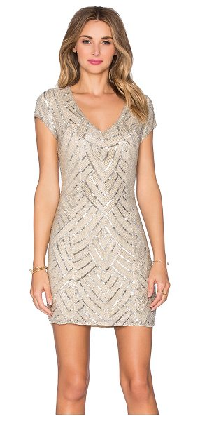 Parker Black Serena embellished dress in beige - Self: 100% silkLining: 100% poly. Professional spot...