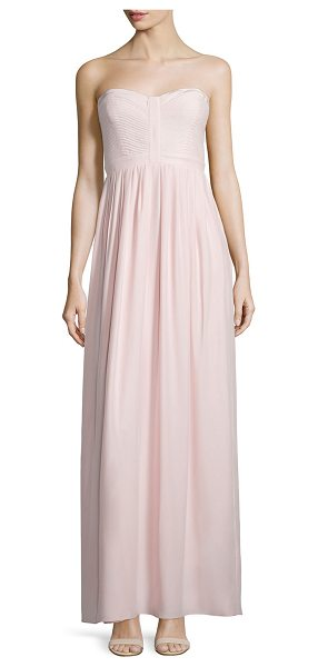Parker Black Strapless Sweetheart-Neck Gown in blush - Parker Black chiffon gown. Strapless, sweetheart...