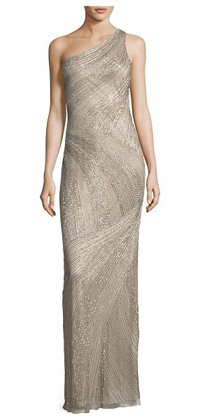 """Parker Black Tasha One-Shoulder Beaded Sequin Evening Gown in beige - Parker """"Tasha"""" beaded evening gown. Approx. 62""""L from..."""
